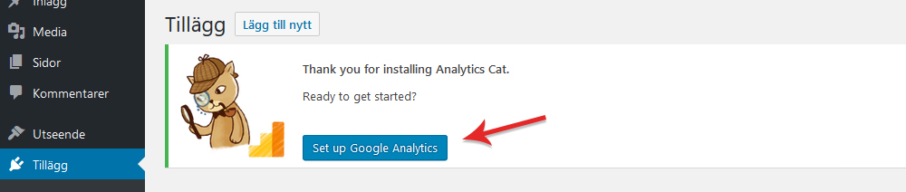Aktivera Google Analytics med plugin