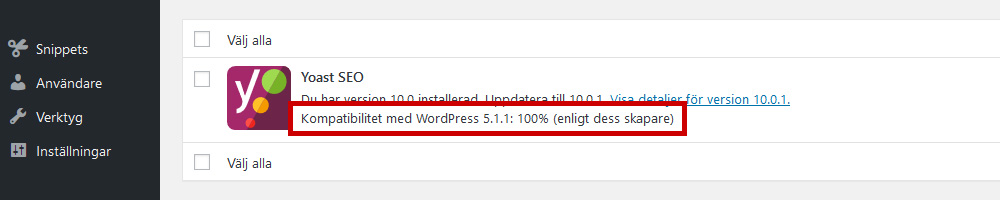 Kompatibilitet för WordPress