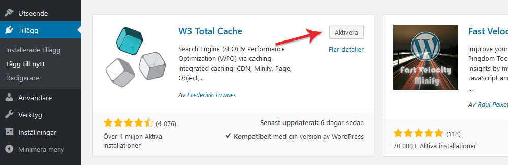 Aktivera W3 Total Cache i WordPress