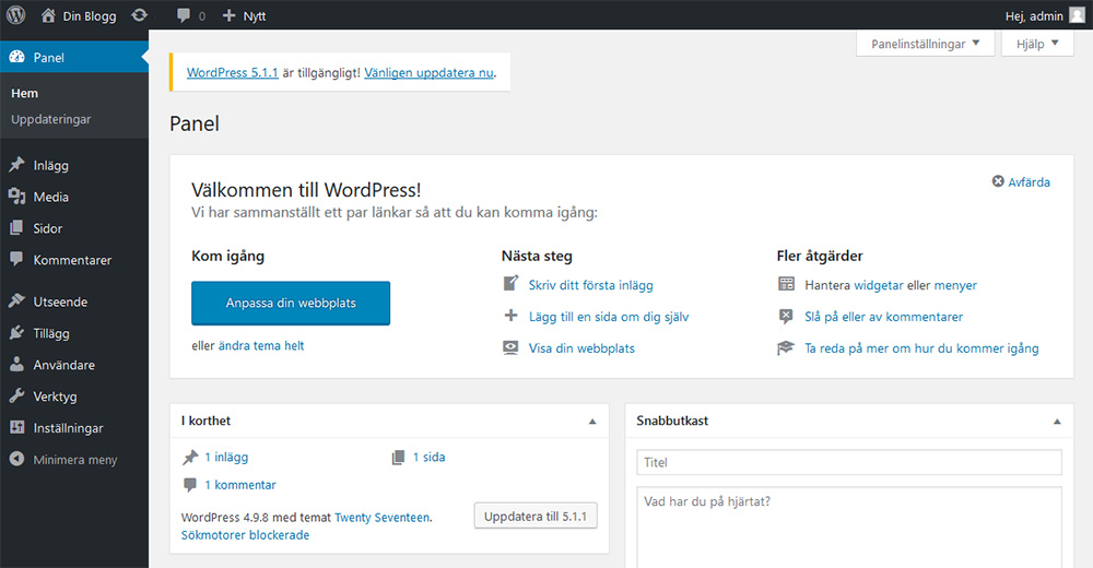 WordPress-blogg: Administrationspanelen i WordPress